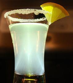 lemon drop shooter | 1/3 oz citris vodka    1/3 oz triple sec    1/3 freshly squeezed lemon juice    Pour each into a double shot glass rimmed with sugar and garnished with a lime.  Imagine it sort of as a liquid sour lemon war head going down.  That'll bring you back.