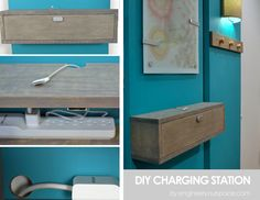 DIY wall mounted charging station and shelf combo