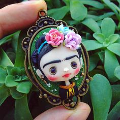 """ F R I D A #nobuhappyspooky #frida #cammeo #fanart #jewelry #art #artist #handmade #polymerclay #fimo"""