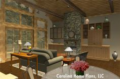Spacious and efficient one story house plan for empty nesters.
