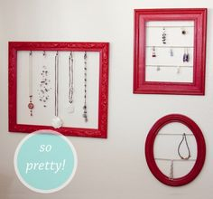 recycle old picture frames for jewlery holders!! LOVE IT!