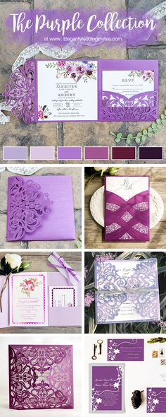 The purple invitation collection from Elegant Wedding Invites.#elegantweddinginvites #invitation#purple