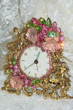 A Vintage Antique Bejeweled Matson Alarm Clock Pink & Green By Debbie Del Rosario