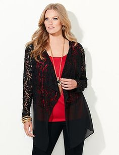 Add an air of romance to your look with our beautiful cascade. Floral lace decorates the top while sheer, billowing fabric completes the bottom for a hint of drama. Openfront. Long sleeves. Catherines tops are perfectly proportioned for the plus size woman. catherines.com