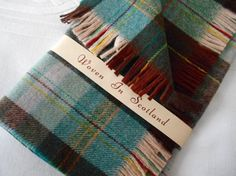 Vintage Wool Scarf Mens Checked Plaid Scarf Scottish Muffler Wool Cashmere Unworn Woven in Scotland Fringe Original Packaging Winter Country by GladragsandHandbags1 on Etsy
