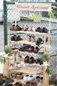 5 Tips for an Unforgettable Beach Ceremony. This shoe set up is adorable for a beach wedding!