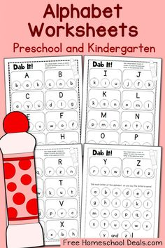 FREE Do a Dot Alphabet Worksheets for Preschool and Kindergarten Preschool Letters, Preschool Printables, Learning Letters, Alphabet Activities, Preschool Worksheets, Preschool Kindergarten, Preschool Learning, Preschool Activities, Free Alphabet Printables