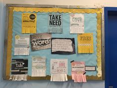 "Interactive positive bulletin board. Requires frequent refreshing of new ""take what you need"" tear-aways. Used this for middle school. Some of my students created their own tear aways to add to the bulletin board, which was an excellent thought replacement exercise for negative self talk. Also a self esteem booster when they saw the tabs disappearing."