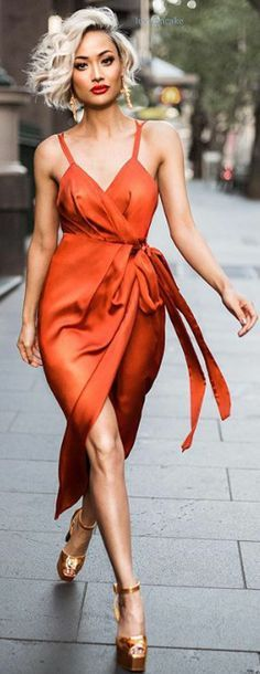 Sexy wrap orange satin dress. MIcah Gianneli
