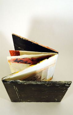 accordian book by  Bridgette Guerzon Mills - encaustic and mixed media
