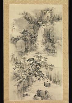 Landscape with Waterfall Nakabayashi Chikutô (Japanese, 1776–1853) Period: Edo period (1615–1868) Date: 1841 Culture: Japan Medium: Hanging scroll; ink on paper Dimensions: Image: 61 15/16 x 34 3/16 in. (157.3 x 86.8 cm) Overall with mounting: 111 1/4 x 41 15/16 in. (282.5 x 106.5 cm) Overall with knobs: 111 1/4 x 45 1/16 in. (282.5 x 114.5 cm) Classification: Painting