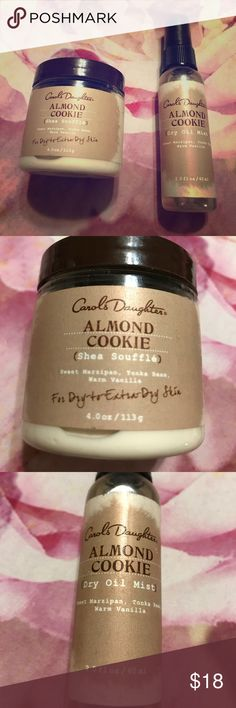 Carol's Daughter Almond Cookie Body Duo Set contains the 4 oz shea soufflé and 2 oz dry oil mist. Fragrance features notes of sweet marzipan, tonka bean, and warm vanilla. Very lightly used once or twice. Excellent for dry to very dry skin. Carol's Daughter Other