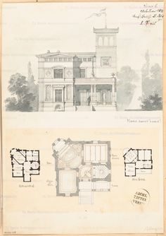 Grundriss Erdgeschoss 1:150, Grundriss Keller und Obergeschoss 1:300, Aufriss Straßenansicht 1:100, Aufbewahrung/Standort: