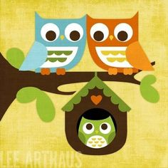 61B Bright Owl Family in Tree 6x6 Print by leearthaus on Etsy. $15.00, via Etsy.