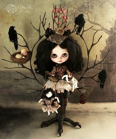 """Olivian ~ The mystery of her hell Piece unique ~ Blythe doll 2011 """"Rebeca Cano ~ Cookie dolls"""" © All rights reserved Ooak Dolls, Blythe Dolls, Betty Boop, Gothic Dolls, Illustration, Creepy Dolls, Little Doll, Gothic Art, Custom Dolls"""