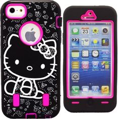 Hello Kitty Hybrid Case for Apple iPhone 5 Hot Pink High Impact Cute Bow Cover + Free Screen Protectors & Stylus **SHIPS NEXT DAY FROM USA**:Amazon:Cell Phones & Accessories