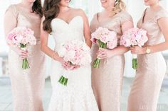 Sequin champagne bridesmaids dresses. Photo by Cassi Claire #barijay #twistedwillowflowers