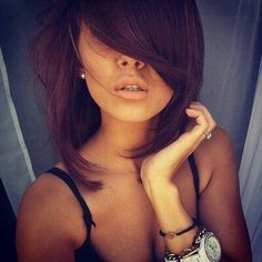 Love this dark red color and the long bangs. Not the length tho.. #teamlonghairdontcare