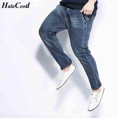 HALACOOD Spring Elastic Ultra Plus Size Jeans Male Teenage Slim Trousers Fashion Men Jeans New Arrival Design Slim Fashion Jeans