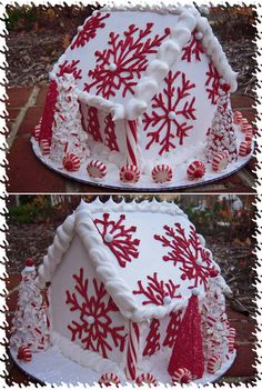 Tips and Tricks for Beautiful Gingerbread Houses Great Christmas Gingerbread Tradition tips! Red and white inspiration for a non-traditional gingerbread house Tips and Tricks for White Gingerbread House, Gingerbread House Parties, Gingerbread Cookies, Gingerbread Houses, Christmas Sweets, Christmas Goodies, Christmas Baking, Christmas Holidays, Italian Christmas