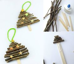 Weihnachtsbaumschmuck aus Naturmaterialien - Eisstiel und kleinen Stäbchen