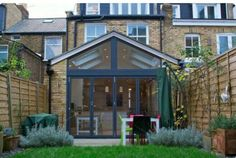 Rear Extension with full width folding sliding doors, and the windows going all… Extension Veranda, Conservatory Extension, Cottage Extension, House Extension Design, Glass Extension, Roof Extension, House Design, Extension Ideas, Conservatory With Tiled Roof