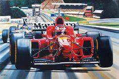 Michael Schumacher in Ferrari F310 at Spa 1996 beats Villeneuve - Print by Colin Carter, UK, 1997
