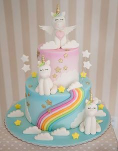 Unicorn Party: 25 incredible inspirations to surprise guests! - - baby kuchen - first birthday cake-Erster Geburtstagskuchen Baby Birthday Cakes, Unicorn Birthday Parties, Unicorn Party, Cakes To Make, Little Pony Cake, Rainbow Birthday, Girl Cakes, Savoury Cake, Cute Cakes