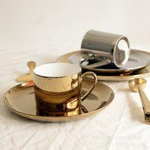 ins金色杯子银色盘子陶瓷托盘装饰盘点心盘电镀陶瓷北欧金色陶瓷