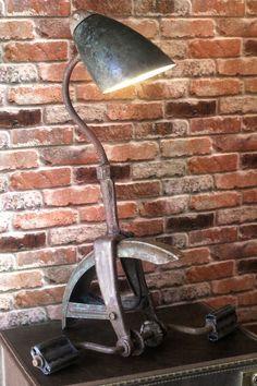Industrial Steampunk Re-purposed Vintage Tricycle Bike Up-cycled Goose Neck Lamp #IndustrialVintageLamp #Industrial
