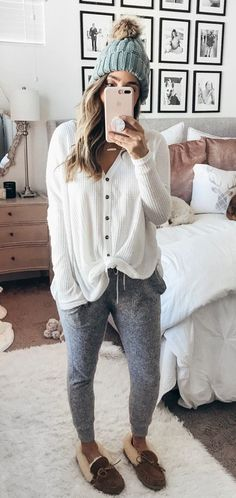 #winter #outfits white corduroy button-up long-sleeved self-tie shirt with heather-gray jogger pants and pair of brown suede moccasin shoes