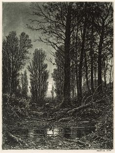Ivan Shishkin - At Dawn`s First Light; Creation Date: 1876; Medium: tinted etching on paper; Dimensions: 18.5 X 14 cm.