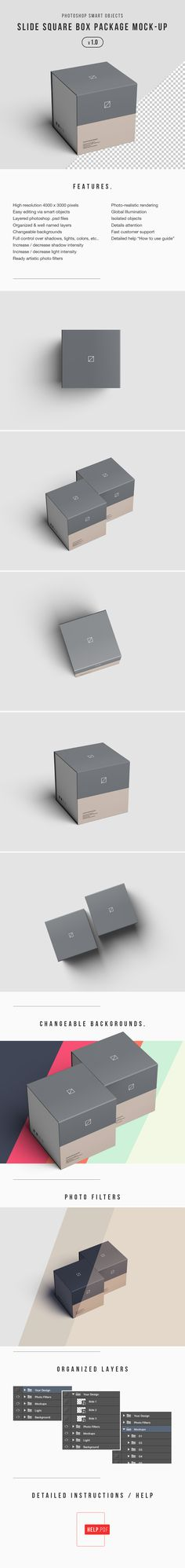 Photoshop advanced square slide box mockup can be edited via photoshop smart…