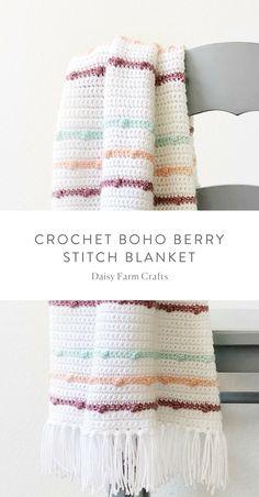 Free Pattern – Crochet Boho Berry Stitch Blanket – Awesome Knitting Ideas and Newest Knitting Models Crochet Afghans, Afghan Crochet Patterns, Baby Blanket Crochet, Crochet Stitches, Knitting Patterns, Afghan Blanket, Love Crochet, Learn To Crochet, Knit Crochet