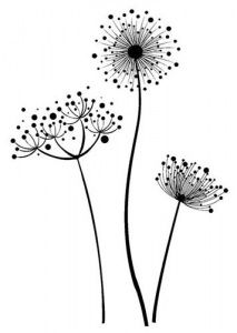 IndigoBlu Cling Mounted Rubber Stamp - Stylised Flowers