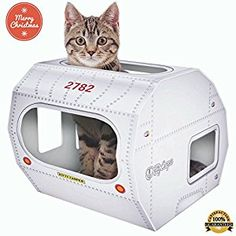 Amazon.com : HOLIDAY SALE - COOL CAT TOYS FOR INDOOR & OUTDOOR CATS BY KITTY CAMPER - Stylish Cardboard Houses Designed To Entertain a Grumpy Feline - Use as a Scratcher, Toy or Bed! Fun for kittensBONUS EBOOK : Pet Supplies