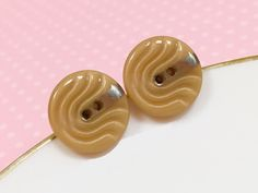 Tan Glass Studs, Vintage Czech Glass Stud Earring, Retro Studs, Tan Wave Design with Silver Detail, Brown Glass Button Stud, KreatedByKelly