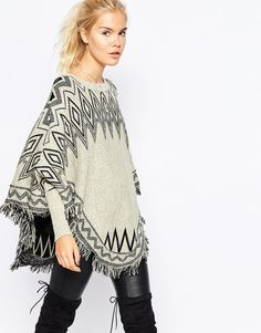 Navy London Cape Jumper in Americana Blanket Print with Tassle Detail