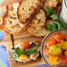 Herbed Ricotta and Heirloom Tomato Crostini