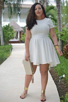Fashion for chubby ladies, curvy girl fashion, fashion mode, plus size fash Fashion For Chubby Ladies, Curvy Girl Fashion, Plus Size Fashion, Curvy Fashion Summer, Fashion Spring, White Plus Size Dresses, Cute White Dress, Plus Size Outfits, Cream Dresses