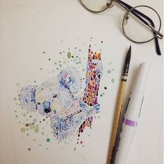 Beautiful Animal Drawings Made with Multicolored Dots