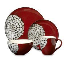 Red Pebbles 16-Piece Dinnerware Set - Bed Bath & Beyond