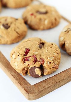 Healthy Almond Cranberry Oatmeal Cookie Recipe on twopeasandtheirpod.com So healthy you can eat them for breakfast!
