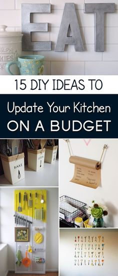 15 Easy DIY Ideas to Update Your Kitchen on a Budget            Freshening up your kitchen decor doesn't have to be an arduous, expensive task. Decorative accessories and affordable additions can dramatically enhance the overall kitchen design. Here is a list of 15 ways to streamline and b...