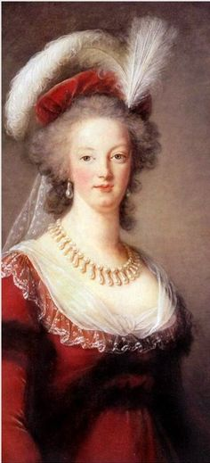 """Marie Antoinette by Vigée Le Brun 1789. 'This picture always hung in the room of Marie Antoinette's daughter, the Duchesse d'Angouleme, who said that it was a """"speaking likeness"""" of her mother.' (batguano.com)."""