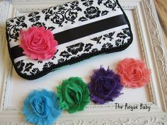 Custom Wipes case for Stylish Mamas!     Black & White Damask Travel Diaper Wipes Case  by TheRogueBaby,