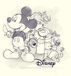 Disney characters by Tiphs on DeviantArt Arte Disney, Disney Magic, Disney Mickey, Disney Pixar, Disney Characters, Cartoon Sketches, Disney Sketches, Disney Drawings, Disney Artwork