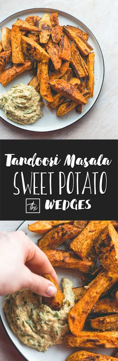Tandoori Masala Sweet Potato Wedges (vegan, GF) - over roasted sweet potato fries with amazing spices, and a touch of coconut oil. Easy to make, delicious, and totally guilt-free. You'll love this recipe!   thehealthfulideas.com