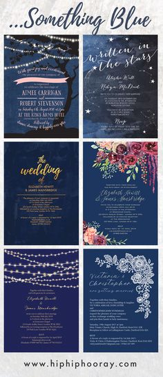 Beautiful navy blue wedding invitations - midnight blue is a gorgeous colour for any season and adds a really classic and timeless elegance to any wedding ceremony and reception. Featuring fairy / string lights, midnight blue sky with stars and constellations, navy and gold, navy and burgundy floral / flowers, & beautiful white vintage lace. All designs are available to personalise online. Print your own with an instant printable PDF digital file, or professionally printed. By Hip Hip Hooray