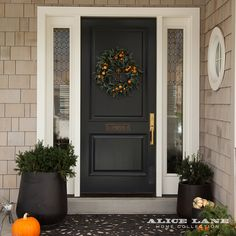 The Perfect Fall Porch - Alice Lane Home Interior Design Black Front Doors, Front Door Colors, Alice Lane Home, Door Steps, Door Makeover, Porch Decorating, Decorating Ideas, Entry Doors, Front Porch